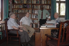 George Sadowsky (author of article on pg 157) and Alan Greenburg, Trustees of the Internet Society visited Sir Arthur C. Clarke at his residence together with Prof. Samaranayake. A Video recording of an interview with Sir Arthur recorded with Prof. Samaranayake's assistance during this meeting was the highlight of the 2002 INet International Conference.