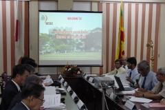 Prof. Samaranayake makes a presentation to the Parliamentary delegation.
