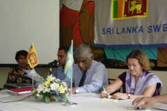 Presiding at the Annual General Meeting of the Sri Lanka Sweden Friendship Association as its President in 2005. On right Ms. Anne Marie Fallanius, Charge d' Affairs, Swedish Embassy in Colombo