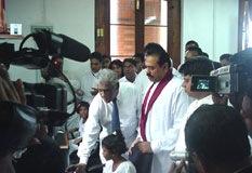 At the inauguration of the Nenasala at Sri Dalada Maligawa on 1st January 2006 by H.E. the President, Mahinda Rajapaksa