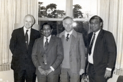 During visit of Vice Chanceelor, University of Colombo to the University of Reading May 1980. From Left to Right: Prof. Evan Page , Vice Chancellor University of Reading, Late Prof. Stanley Wijesundera, Vice Chancellor, University of Colombo, Prof. Robert Curnow, Head, Dept of Applied Statistics, University of Reading and Prof. V. K. Samaranayake, Professor of Mathematics, University of Colomb