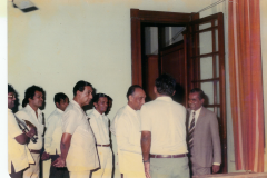 Visit of Prime Minister J.R. Jayawardana to the Election Office before the announcement of the final result. In the picture are Mr. H. W. Jayawardena, Prof. V. K. Samaranayake and Mr. Chandrananda de Silva, Commissioner of Elections.