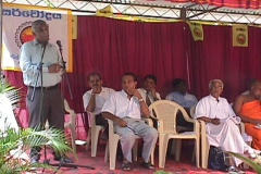 The opening of the first Telecentre in Sri Lanka at Kahawatte Sarvodaya Centre. Prof. V.K.Samaranayake, Director, ICT addressing the gathering. Also in the picture, Dr. Harsha Liyanage and Sarvodaya Leader Dr. A. T. Ariyaratne.