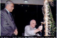 Sir Arthur C. Clarke, Chief Guest at the inauguration of INFOTEL LANKA '98, ICT Exhibition organised by the Infotel Lanka Society with its Chairman, Prof. V. K. Samaranayake
