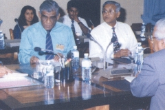 Prof. Samaranayake Chaired the National Y2K Task Force and ensured that the country crossed over to the 21st Century without any computer related problems. Above Prof. Samaranayake briefing President Chandrika Kumaratunge and Minister of Science and Technology Batty Weerakoon on the stepts that will be taken by the Task Force to face the cross over