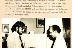 Prof. Mohan Munasinghe with President Jayewardene