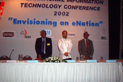 Prof. Samaranayake, as Chairman Infotel, at the inauguration of the International IT Conference 2002 with Chief guest Minister Milinda Moragoda and David Dominic, Executive Director, Infotel Lanka Society.
