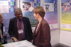 With Minister of International Development, Sweden at the UCSC stall, World Summit on Information Society WSIS, Geneva 2003