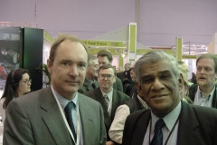 With Tim Burnes Lee the inventor of the World Wide Web at the CERN stall, WSIS Geneva 2003 (Wolfgang was a Lecturer at the first Asian College on Microprocessors organized by Prof Samaranayake in Sri Lanka in May 1984 with the assistance of ICTP, Trieste and CERN )