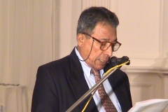 Prof. P. W. Epasinghe reading the scroll at the Felicitation to Prof. Samaranayake held in December