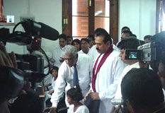 At the inauguration of the Nenasala at Sri Dalada Maligawa on 1st January 2006 by H.E. the President, Mahinda Rajapaksa