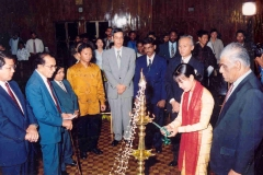 At the inauguration of a Third Country Program funded by JJICA and conducted by UCSC. In the picture, Dr. P. R.Anthonis, Chancellor, Mr. Kaiho, Resident Representative JICA, Prof. Samaranayae and participants